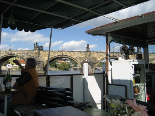 From a river boat, looking towards the famous Charles Bridge.