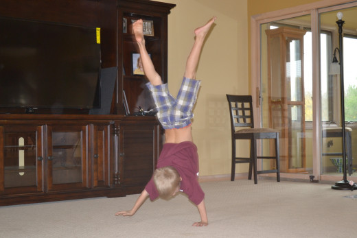 Time for a handstand during the talent show
