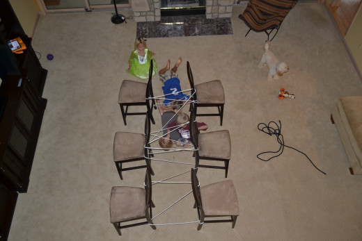 Using a rope and chairs, create a chair maze and let the kids challenge themselves by crawling through