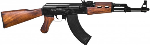 This is the AK-47 and it too can identified by it's unique slant style muzzle brake. Another difference is the magazine profile, as the 47 's mag has more of a curve and the 74 is more like an AR mag.