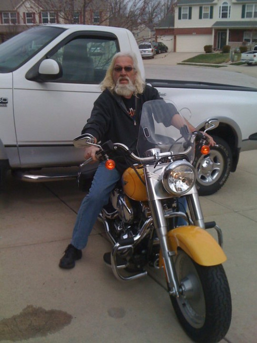Dad on his prized Harley Fat Boy