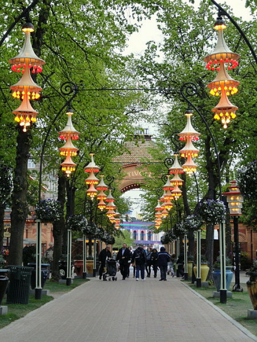 Daderot took this photograph of the lights in Tivoli Gardens in Copenhagen, Denmark on May 8, 2012.