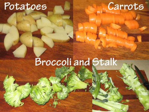 Vegetables have to be cut in medium sized chunks.