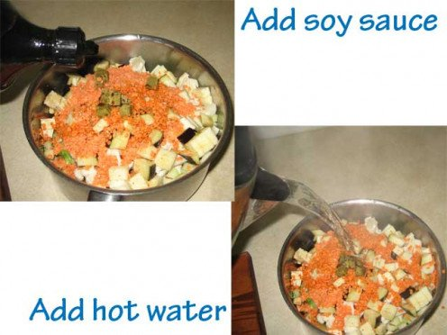 Add soy sauce and hot water before placing on the stove.