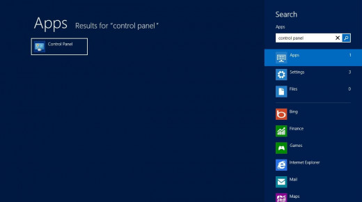 """Navigate to the Windows 8 Start screen and then type """"control panel."""" Click """"Control Panel"""" on the left side of the Apps screen that appears displaying search results."""