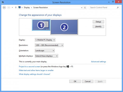 Select the monitor you want to change the settings for and then adjust the settings accordingly.
