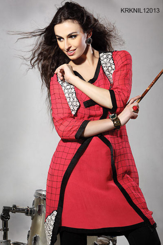 Beautiful Red Pure Georgette Tunic. Photo courtesy of Cbazaar.
