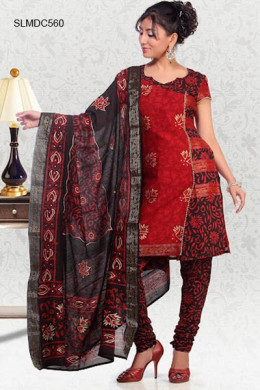 Red Silk Cotton Printed Salwar Suit. Photo courtesy of Cbazaar.