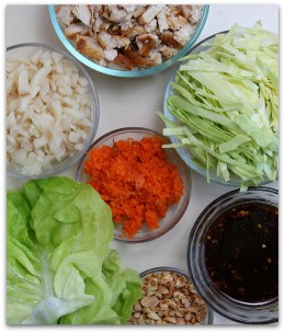 Some of the ingredients used in a lettuce wrap.