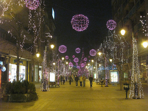 Christmas lights in Skopje, Republic of Macedonia were photographed by Stephan Plepelits on January 1, 2005.
