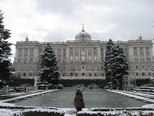 The Sabatini Gardens and the north façade of the Royal Palace of Madrid, Spain after a snowfall were photographed by Gonzalo Alzamora Puente on January 9, 2009.