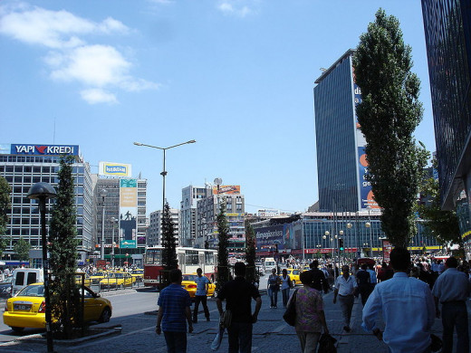 Kızılay Square on Ankara, Turkey was photographed by Ahmetan.