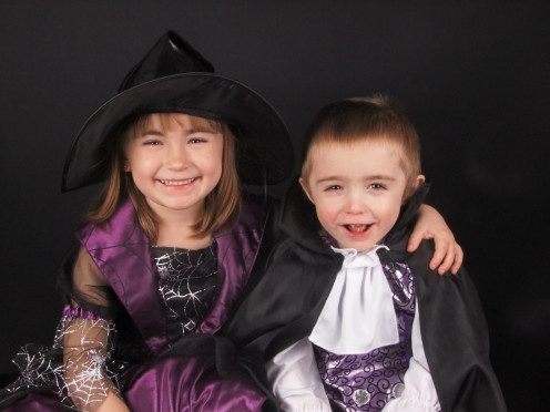 These are my 2 little terror's dressed up for a Halloween photo competition.