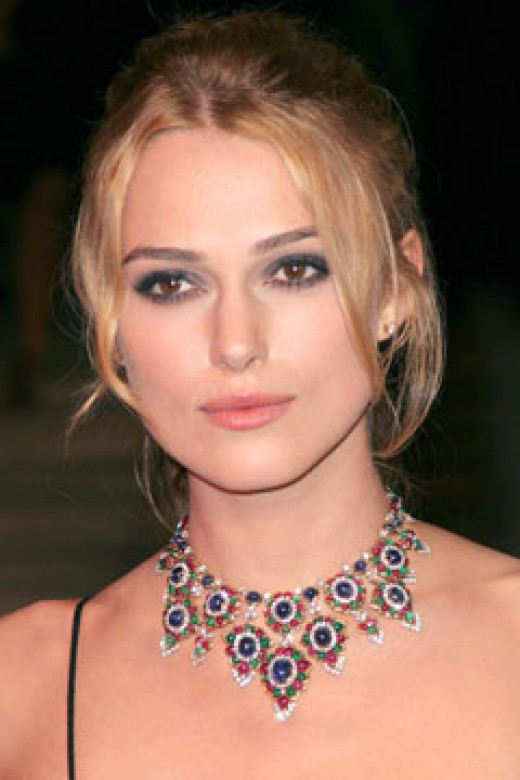 Kiera Knightly wearing a vintage style necklace.
