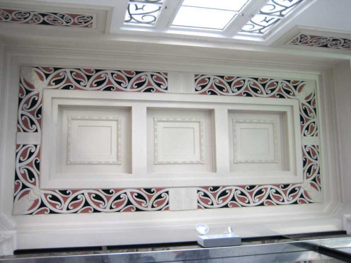 Ceiling detail with Maori Motifs, ASB Bank building, Napier, New Zealand.