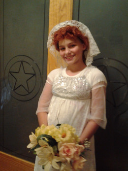 Shelly wearing last years bridal costume with my Lucy wig.