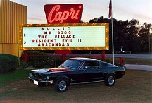 A Bullitt Ford Mustang replica at the Capri Drive In Theater in Coldwater, Michigan, during the showing of Bullitt at its 40th anniversary in 2004.
