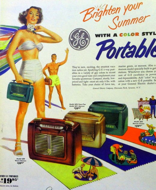 This 1950's ad shows the new modern couple with their new portable radio, with it's speaker and tubes playing the latest music, background to the latest styles and new way of living