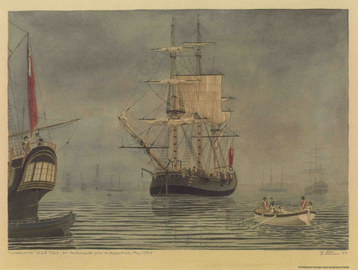 """The HMS Charlotte, from the """"First Fleet"""" of transportation ships in 1787"""