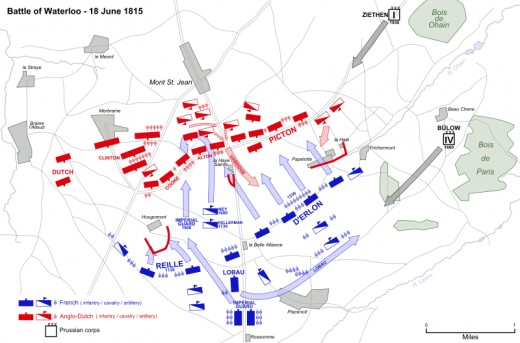 A map showing the movements of the opposing forces during the battle. Napoleon's forces are in blue, while the Allies are in red.