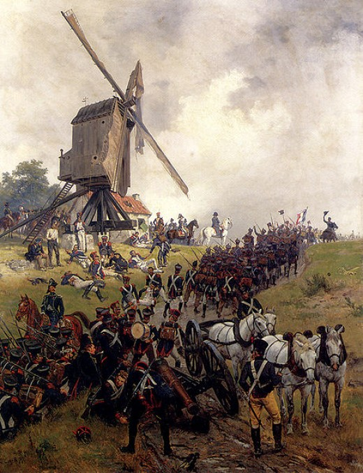 The French infantry advancing at the start of the battle.