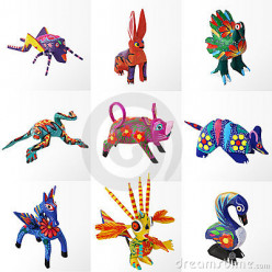 """The colorful wooden fantasy animals called """"alebrijes"""", a great legacy to Mexican crafts born in Oaxaca. Alebrijes have inspired many contemporary artists in their work."""