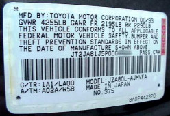 Check for the above vehicle information generally found attached near the driver's door and also near the engine.