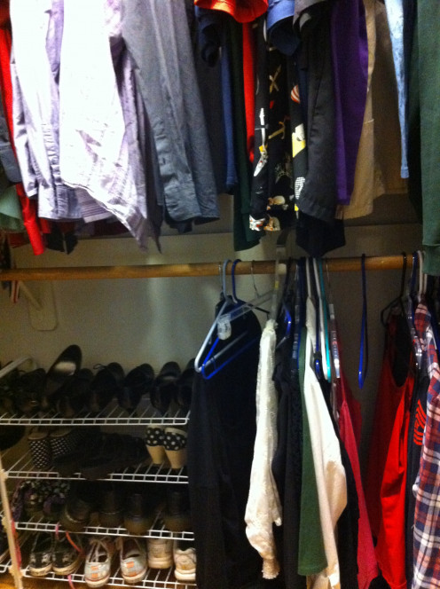 What it looks like after a closet is clean in my house!