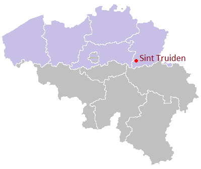 Map location of Sint Truiden, Flanders, Belgium