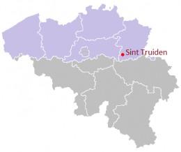 Map location of Sint Truiden, Flanders, Belgium
