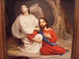 Adam (Michael) comforting Jesus in the Garden as Christ begins the suffering sins before he finished it on the Cross.