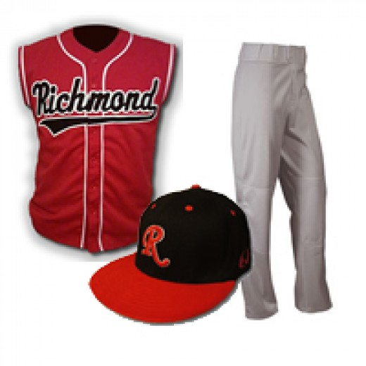 Common baseball equipment, uniform, pants and a hat