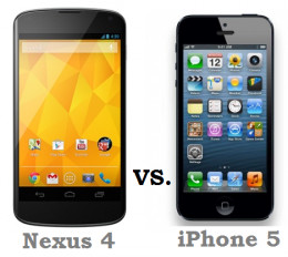 Two of the best and most popular current smartphone options - Google Nexus 4 (manufactured by LG) and Apple iPhone 5.