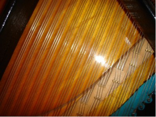 The treble strings on a piano