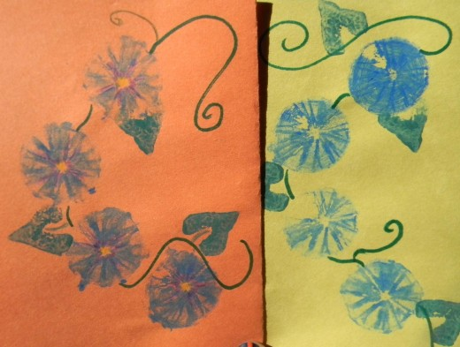 Morning Glory with and without added colored pencil effects.  Leaves were also made with squash stamp.