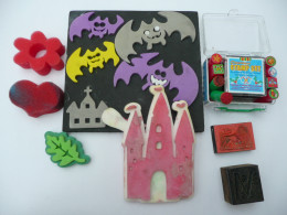 From left: sponge stamps, foam stamps, rubber stamps. Bottom right is a wooden stamp.