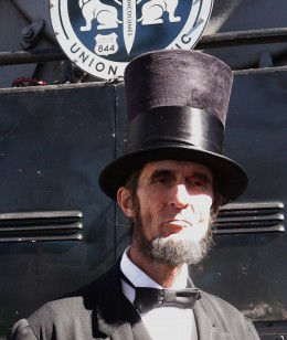 Mr. Lincoln talked to visitors and posed for pictures.