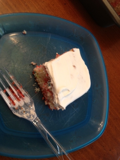Picture of slice of cherry jello cake