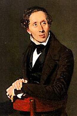 A portrait of Hans Christian Andersen painted by the artist Christian Albrecht Jensen in the year 1836 - just one year before the publication of 'The Emperor's New Clothes'