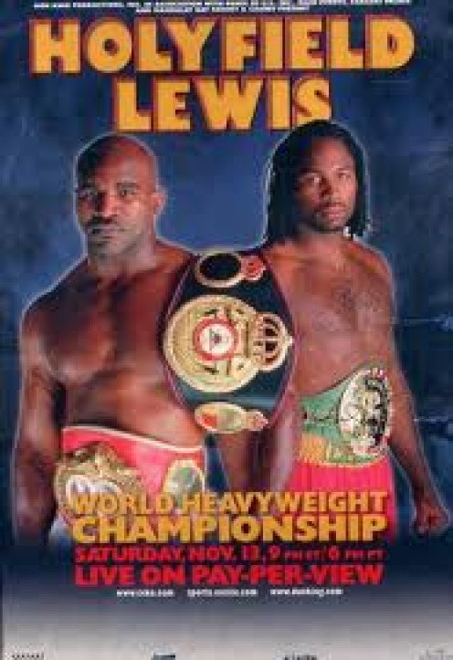 Evander Holyfield and Lennox Lewis fight to a Bogus Draw in their first bout.