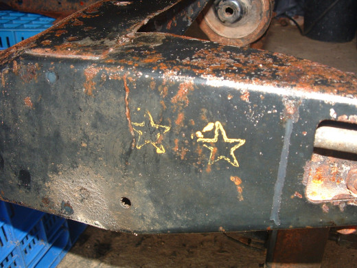 Yellow stars stamped on rear sub frame