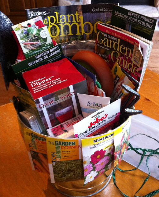 Wrapping up a Gardener's gift basket for a silent auction.