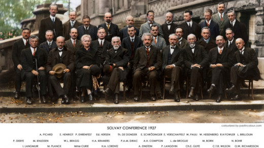 Marie Curie with other prominent scientists including Albert Einstein at the Solvay Conference