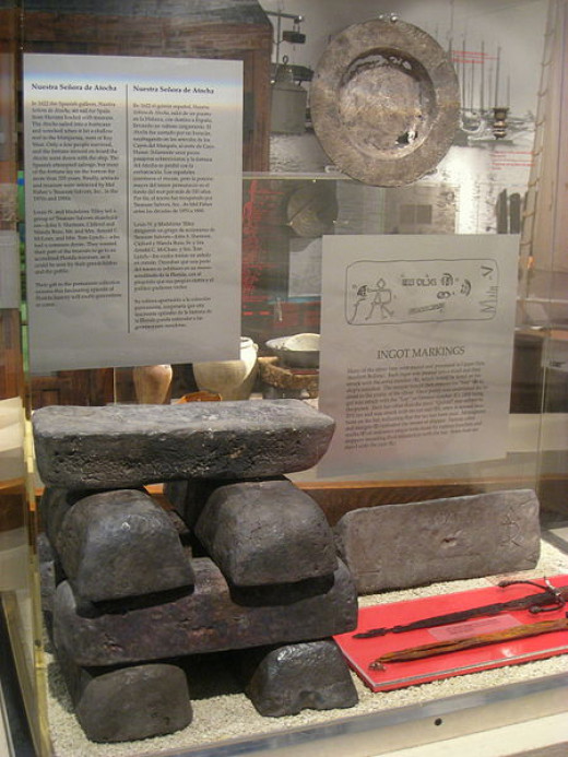 These silver ingots salvaged from the wreck of the Nuestra Señora de Atocha were photographed by Daderot on December 9, 2010.