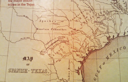 A map of the native tribes present in the territory then known as Tejas.