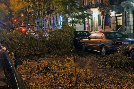 Sandy's damage on 101st Street.  Image courtesy MrChoppers and Wikimedia Commons.