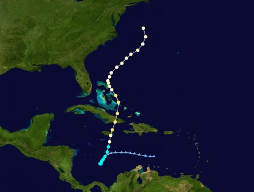 Sandy's track.  Map courtesy Wikipedia.