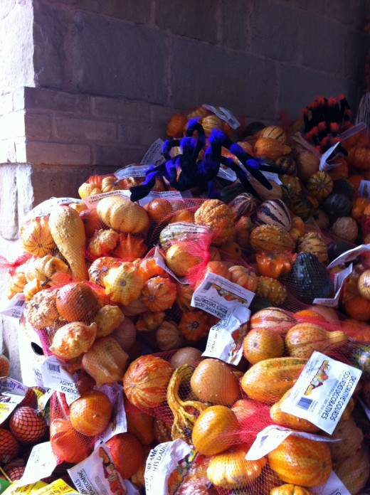 Grab a bag of ornamental pumpkins to decorate your table for fall dinners!