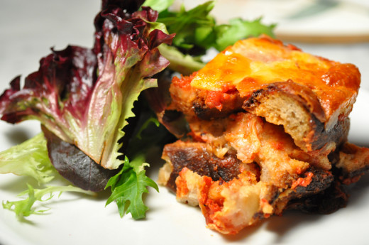 "Mazzumurru (bread ""lasagne"" of Càgliari). Great lunch dish with salad. Image: © Siu Ling Hui"