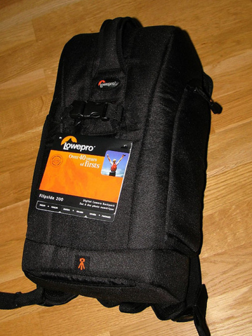 Lowepro Flipside 200 -- an example of a low profile backpack that is easy to carry around.